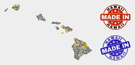 Mosaic technical Hawaii State map and blue Made In textured seal. Vector geographic abstraction model for service, or political purposes. Mosaic of Hawaii State map combined of scattered cogwheel, Illusztráció