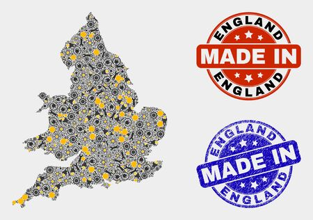 Mosaic industrial England map and blue Made In scratched stamp. Vector geographic abstraction model for service, or patriotic purposes. Mosaic of England map combined of random cogwheel, spanners, Illusztráció