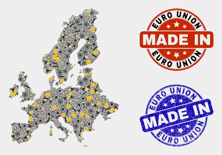 Mosaic industrial Euro Union map and blue Made In scratched seal. Vector geographic abstraction model for service, or patriotic posters. Mosaic of Euro Union map combined of random gears, spanners, Illusztráció