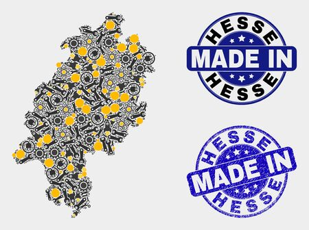 Mosaic technical Hesse Land map and blue Made In textured stamp. Vector geographic abstraction model for industrial, or political posters. Mosaic of Hesse Land map combined of scattered cogs,