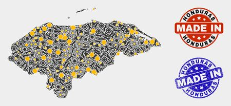 Mosaic technical Honduras map and blue Made In textured stamp. Vector geographic abstraction model for technical, or political illustrations. Mosaic of Honduras map combined of scattered gearwheels, 일러스트