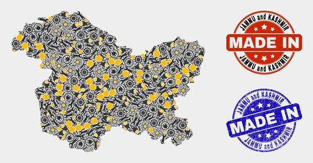 Mosaic technical Jammu and Kashmir State map and blue Made In scratched seal. Vector geographic abstraction model for technical, or political posters.