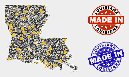 Mosaic industrial Louisiana State map and blue Made In grunge stamp. Vector geographic abstraction model for industrial, or political posters.