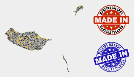 Mosaic gear Madeira Islands map and blue Made In grunge seal. Vector geographic abstraction model for service, or political illustrations. Mosaic of Madeira Islands map designed from scattered wheel,