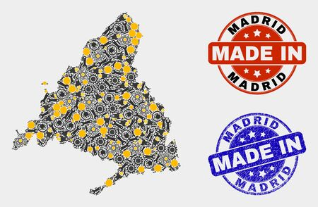 Mosaic gear Madrid Province map and blue Made In grunge stamp. Vector geographic abstraction model for mechanic, or patriotic illustrations.