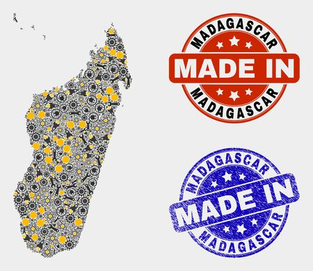 Mosaic gear Madagascar Island map and blue Made In textured stamp. Vector geographic abstraction model for service, or patriotic illustrations.