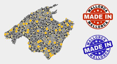 Mosaic technical Mallorca map and blue Made In textured stamp. Vector geographic abstraction model for industrial, or patriotic posters. Mosaic of Mallorca map combined of random wheel, wrenches,