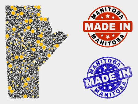 Mosaic gear Manitoba Province map and blue Made In scratched stamp. Vector geographic abstraction model for service, or political posters. Mosaic of Manitoba Province map combined of random wheel,
