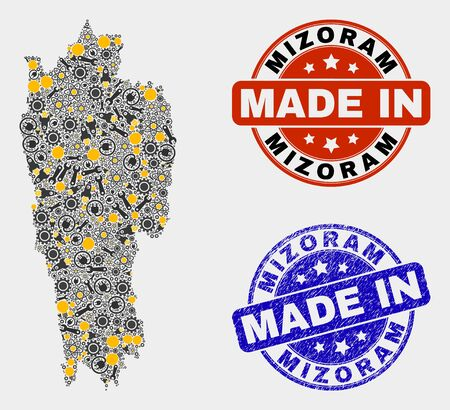 Mosaic industrial Mizoram State map and blue Made In grunge stamp. Vector geographic abstraction model for industrial, or patriotic purposes. Mosaic of Mizoram State map combined of scattered gears,
