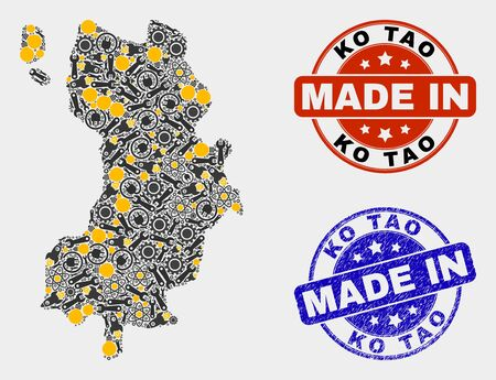 Mosaic industrial Ko Tao map and blue Made In textured stamp. Vector geographic abstraction model for service, or political illustrations. Mosaic of Ko Tao map combined of scattered cogwheel,