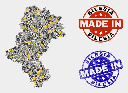 Mosaic gear Silesian Voivodeship map and blue Made In grunge stamp. Vector geographic abstraction model for technical, or patriotic purposes. Illusztráció