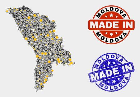 Mosaic technical Moldova map and blue Made In scratched stamp. Vector geographic abstraction model for workshop, or patriotic templates. Mosaic of Moldova map combined of random cogs, spanners, lamps, Illusztráció