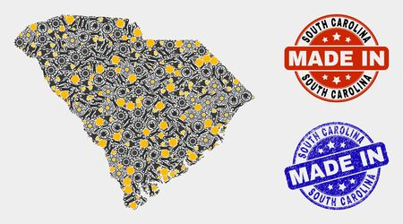 Mosaic technical South Carolina State map and blue Made In scratched stamp. Vector geographic abstraction model for workshop, or political posters.