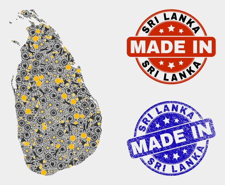 Mosaic industrial Sri Lanka map and blue Made In scratched stamp. Vector geographic abstraction model for workshop, or political illustrations. Mosaic of Sri Lanka map combined of random cogs, 向量圖像