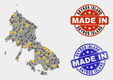 Mosaic technical Skyros Island map and blue Made In textured seal. Vector geographic abstraction model for technical, or patriotic purposes. Mosaic of Skyros Island map combined of scattered gears,