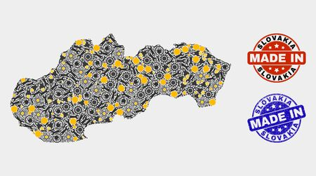 Mosaic technical Slovakia map and blue Made In textured seal. Vector geographic abstraction model for service, or political templates. Mosaic of Slovakia map combined of scattered cogs, spanners,