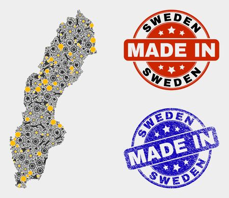 Mosaic gear Sweden map and blue Made In scratched stamp. Vector geographic abstraction model for workshop, or political purposes. Mosaic of Sweden map combined of random wheel, spanners, Illusztráció