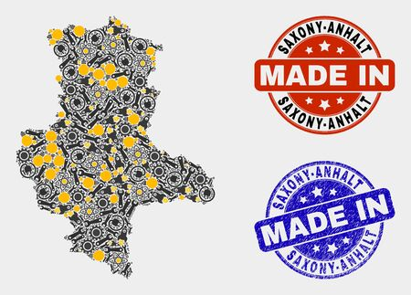 Mosaic industrial Saxony-Anhalt Land map and blue Made In textured seal. Vector geographic abstraction model for service, or patriotic purposes.