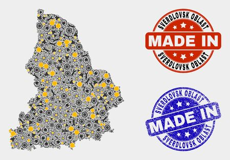 Mosaic industrial Sverdlovsk Region map and blue Made In grunge stamp. Vector geographic abstraction model for industrial, or political illustrations. Illusztráció