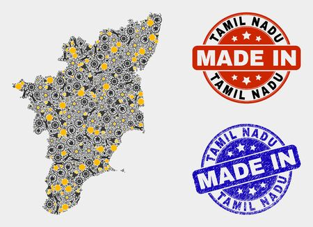 Mosaic technical Tamil Nadu State map and blue Made In grunge stamp. Vector geographic abstraction model for technical, or patriotic templates. 向量圖像