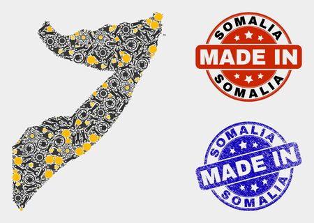 Mosaic gear Somalia map and blue Made In textured seal. Vector geographic abstraction model for mechanic, or political purposes. Mosaic of Somalia map combined of scattered cogs, spanners, lamps, 向量圖像