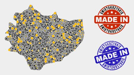 Mosaic industrial Swietokrzyskie Voivodeship map and blue Made In grunge seal. Vector geographic abstraction model for industrial, or political illustrations.