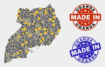 Mosaic industrial Uganda map and blue Made In grunge stamp. Vector geographic abstraction model for service, or patriotic posters. Mosaic of Uganda map combined of scattered cogwheel, spanners, 向量圖像
