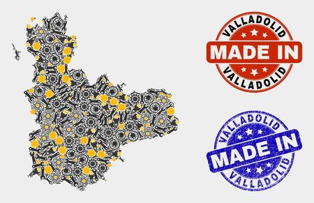 Mosaic industrial Valladolid Province map and blue Made In scratched seal. Vector geographic abstraction model for industrial, or political purposes.