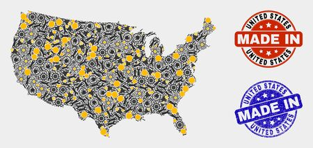 Mosaic technical United States map and blue Made In grunge seal. Vector geographic abstraction model for technical, or political illustrations. 向量圖像