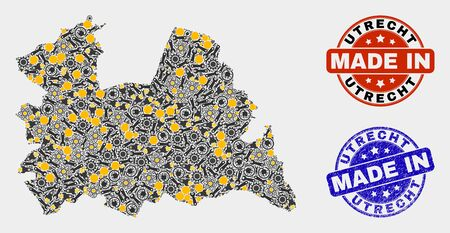 Mosaic gear Utrecht Province map and blue Made In textured stamp. Vector geographic abstraction model for industrial, or political templates.