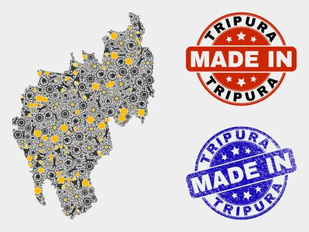 Mosaic industrial Tripura State map and blue Made In textured stamp. Vector geographic abstraction model for mechanic, or patriotic posters. Mosaic of Tripura State map combined of scattered wheel,