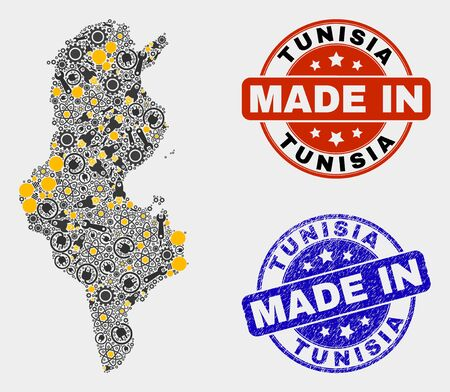 Mosaic gear Tunisia map and blue Made In grunge stamp. Vector geographic abstraction model for workshop, or patriotic posters. Mosaic of Tunisia map designed from random gears, wrenches, lamps,