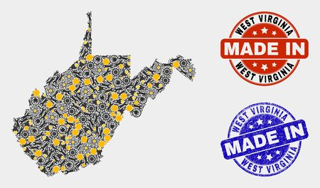 Mosaic industrial West Virginia State map and blue Made In textured stamp. Vector geographic abstraction model for workshop, or patriotic illustrations.