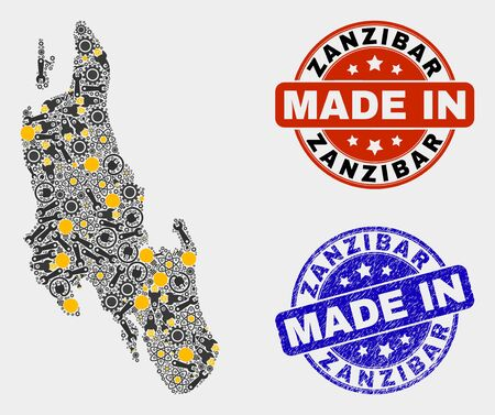 Mosaic gear Zanzibar Island map and blue Made In textured seal. Vector geographic abstraction model for service, or political purposes. Mosaic of Zanzibar Island map combined of scattered gears, 向量圖像