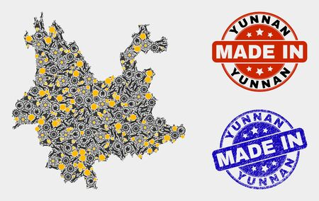 Mosaic industrial Yunnan Province map and blue Made In grunge stamp. Vector geographic abstraction model for industrial, or political posters.