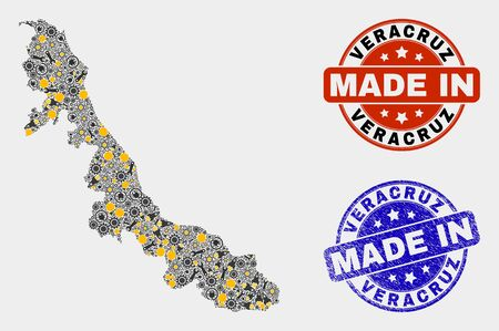 Mosaic industrial Veracruz State map and blue Made In scratched seal. Vector geographic abstraction model for industrial, or patriotic posters. Mosaic of Veracruz State map combined of random cogs, 向量圖像