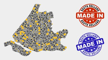 Mosaic technical South Holland map and blue Made In scratched stamp. Vector geographic abstraction model for technical, or patriotic purposes. Mosaic of South Holland map combined of scattered wheel,
