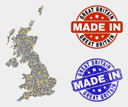 Mosaic industrial United Kingdom map and blue Made In textured stamp. Vector geographic abstraction model for service, or political posters. 向量圖像