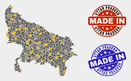 Mosaic technical Uttar Pradesh State map and blue Made In grunge seal. Vector geographic abstraction model for technical, or patriotic purposes.