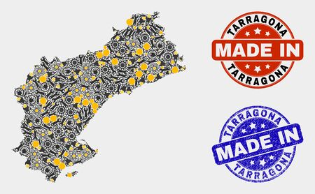 Mosaic industrial Tarragona Province map and blue Made In scratched seal. Vector geographic abstraction model for industrial, or political templates.