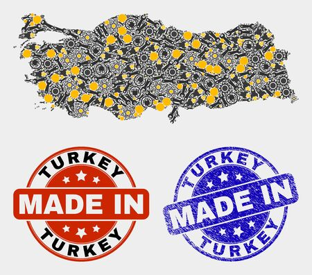 Mosaic industrial Turkey map and blue Made In scratched seal. Vector geographic abstraction model for service, or political templates. Mosaic of Turkey map composed from scattered gearwheels, 向量圖像