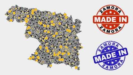 Mosaic industrial Zamora Province map and blue Made In scratched seal. Vector geographic abstraction model for industrial, or patriotic templates.