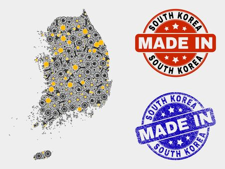 Mosaic industrial South Korea map and blue Made In grunge stamp. Vector geographic abstraction model for industrial, or political posters. Mosaic of South Korea map combined of random cogwheel,