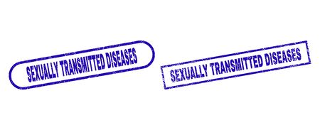 Blue rectangle and rounded SEXUALLY TRANSMITTED DISEASES watermark. Flat vector distress watermarks with SEXUALLY TRANSMITTED DISEASES text inside rectangle frame and rounded rectangle frames.