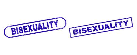 Blue rectangle and rounded BISEXUALITY watermark. Flat vector distress stamps with BISEXUALITY message inside rectangle frame and rounded rectangle frames. Watermark with distress style, Çizim