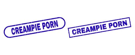 Blue rectangle and rounded CREAMPIE PORN seal. Flat vector grunge seal stamps with CREAMPIE PORN title inside rectangle frame and rounded rectangle frames. Rubber imitation with unclean surface,