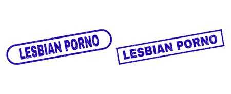 Blue rectangle and rounded LESBIAN PORNO seal stamp. Flat vector grunge seal stamps with LESBIAN PORNO caption inside rectangle frame and rounded rectangle frames. Watermark with corroded surface,