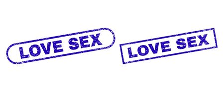 Blue rectangle and rounded LOVE SEX seal stamp. Flat vector textured seal stamps with LOVE SEX title inside rectangle frame and rounded rectangle frames. Watermark with corroded texture,