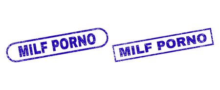 Blue rectangle and rounded MILF PORNO seal stamp. Flat vector scratched seal stamps with MILF PORNO message inside rectangle frame and rounded rectangle frames. Rubber imitation with unclean surface,