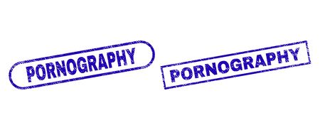 Blue rectangle and rounded PORNOGRAPHY seal. Flat vector distress seals with PORNOGRAPHY message inside rectangle frame and rounded rectangle frames. Watermark with distress surface,